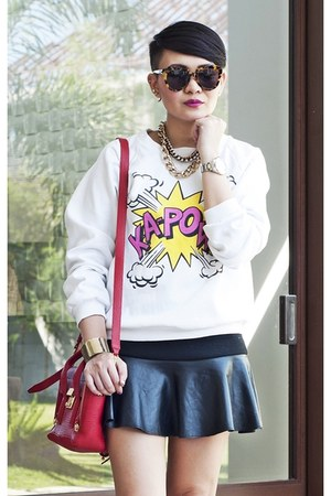 white kapow print sweater - ruby red mini pashli 31 Phillip Lim bag