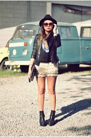 black baxter Gold Dot wedges - black leather jacket - cream crochet shorts