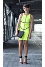 Yellow-neon-scuba-dress-black-foldover-clutch-sm-accessories-purse