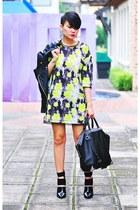 black mackenzie Alexander Wang boots - lime green dress