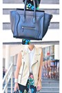 Cream-faux-leather-vest-black-mini-luggage-celine-bag-black-floral-pants
