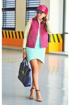 aquamarine asymmetrical H&M skirt - maroon jacket
