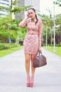 Neutral-kermit-tesoro-shoes-pink-knit-dress-brown-damier-louis-vuitton-bag