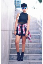 red plaid top - black top - black lace up boots