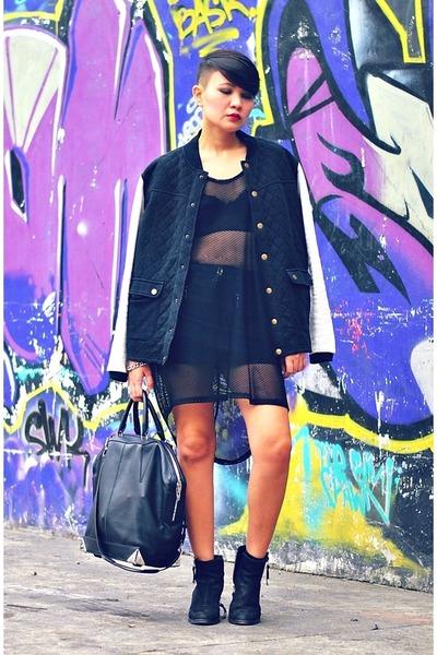 black bomber jacket - black emile Alexander Wang bag - black mesh top