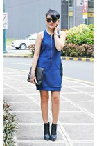 blue Folded & Hung dress - black ombre constance Alexander Wang boots