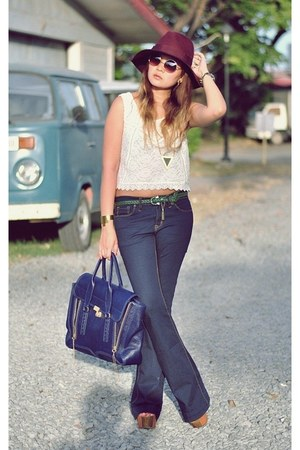 navy bell bottom jeans - maroon floppy hat - blue pashli tote 31 Phillip Lim bag