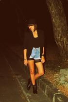 blue - black - black Mango blouse