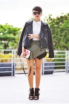 yellow origami skirt - black mesh Alexander Wang boots