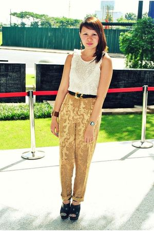gold brocade thrifted pants - beige Forever21 top - black clogs Zara