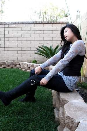 black boots - jeans - silver DNA Couture shirt - black H&M vest