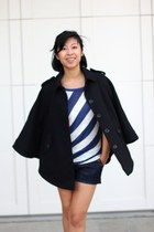stripped Ross shirt - denim Wet Seal shorts - H&M cape - black boots Aldo wedges