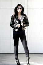 wedges Aldo boots - dark Genetic jeans - leather Bebe jacket - aviator Aldo sung