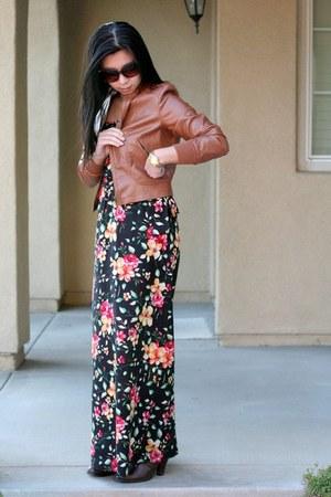 nordstrom boots - floral print Forever 21 dress - brown TCEC jacket - Aldo sungl