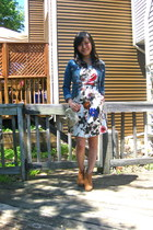 white floral Forever 21 dress - tawny suede Forever 21 boots