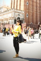 yellow Zara blouse - Witchery boots - emilie Alexander Wang bag