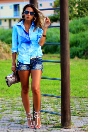 sky blue sky blue romwe shirt