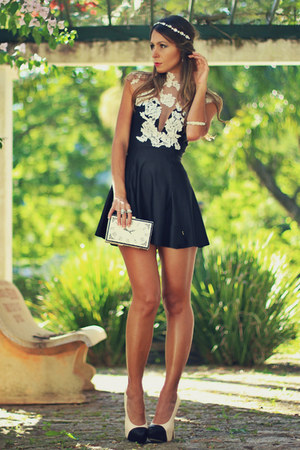 black Maria Gueixa dress - white Choies bag - cream Charlotte Russe pumps