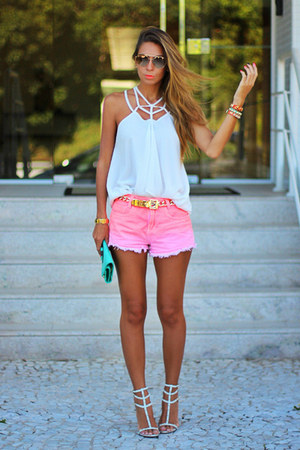 white Tuart blouse - salmon tie dye Dardak shorts