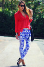 Black-schutz-shoes-blue-printed-romwe-leggings-red-chiffon-papaya-shirt
