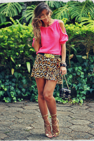 hot pink Choies blouse - brown Chiclet skirt - gold Schutz sandals