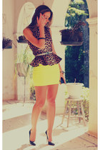 brown animal print asos blouse - yellow neon Forever21 skirt