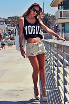 beige destroyed denim Forever 21 shorts - black crop tank Choies top