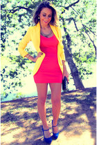 yellow Mango blazer - red Forever 21 dress - blue Schutz heels