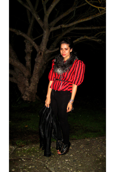 black Dolce Vita shoes - black Riki leggings - red vintage from Painted Bird top