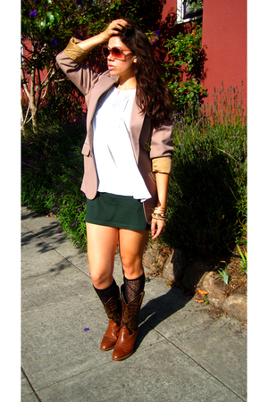 H&amp;M top - Zara top - YSL blazer - Target socks - Buffalo Exchange boots - Betsey