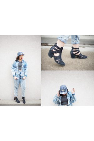 gray 5 panel Stussy hat - black stillwell Jeffrey Campbell boots