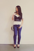 navy J Brand jeans - dark khaki Alexander Wang bag - white J Crew t-shirt - blac