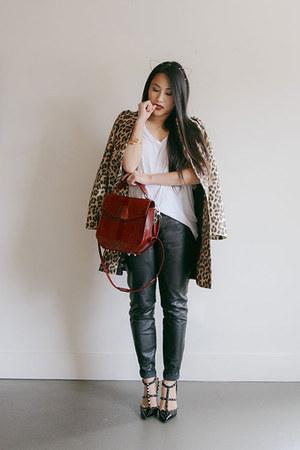 black leather pants - tan leopard jacket - white u neck Alexander Wang t-shirt