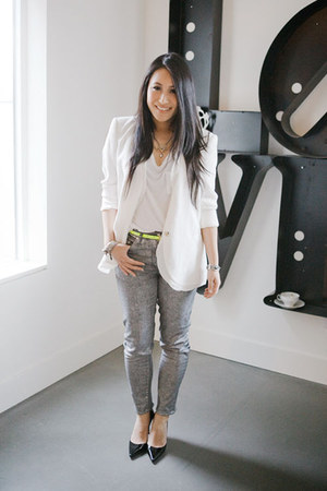 white Helmut Lang blazer - white Alexander Wang t-shirt - silver H&M pants