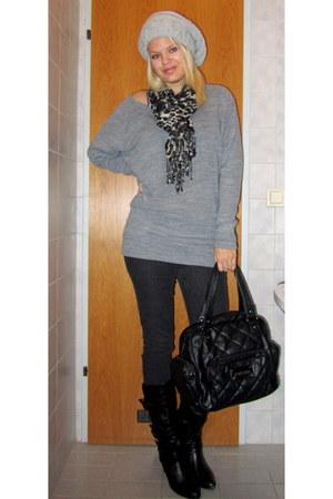 black Deichmann boots - black Vero Moda jeans - heather gray Only sweater