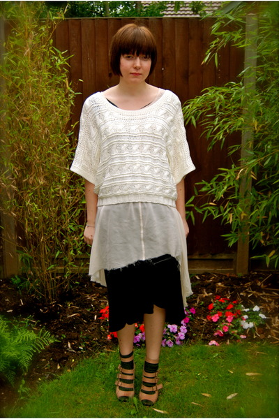 beige H&M sweater - beige meadham kirchhoff X Topshop dress - black new look ski