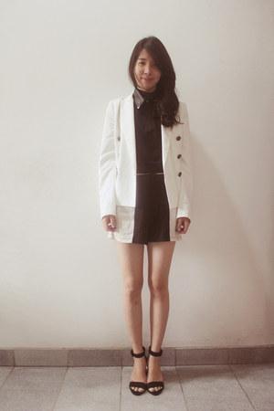 black new look top - white Zara blazer - black Zara heels