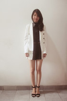 black new look top - white Zara blazer - black Zara heels