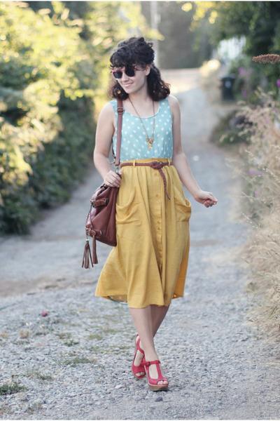 mustard modcloth skirt - aquamarine Lulus dress - dark brown Handbag Heaven bag