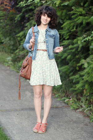 aquamarine modcloth dress - sky blue Lulus jacket - brown Handbag Heaven bag