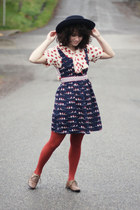 navy modcloth dress - navy thrifted hat - burnt orange Target tights