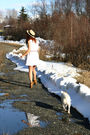 White-megan-neilsen-dress-brown-kensiegirl-boots-beige-claires-hat-gold-ha
