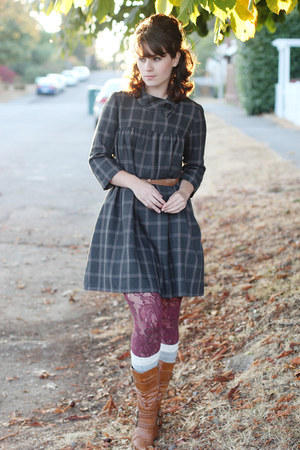 brown modcloth boots - gray thrifted dress - maroon Fred Meyer tights