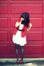 White-forever-21-dress-red-guess-top-red-vintage-shoes