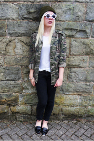black Topshop jeans - army green asos hat - dark khaki Topshop jacket