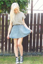 sky blue Topshop skirt - white shirt - black Converse sneakers