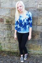 black Topshop jeans - black Converse sneakers - blue Mango top
