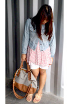 navy new look bag - light blue denim cropped jacket - white shorts