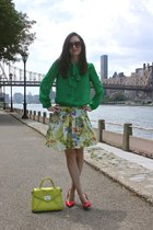 floral Urban Outfitters skirt - lime green kate spade purse - Mango sunglasses