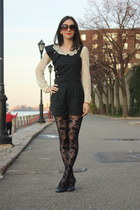 Topshop romper - Forever 21 stockings - vintage top - Chinese Laundry heels